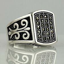Solid 925 Sterling Silver Ottoman Style HandMade Marcasite Gemstone  Man Ring