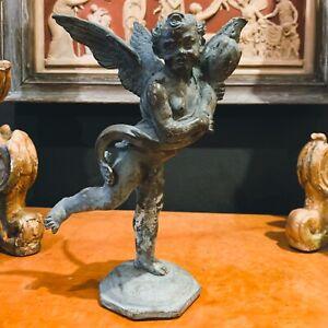 Grand Tour Bronze Roman Cherub Patinated Metal Figurine