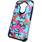 Hybrid Slim Case for LG K31/ ARISTO 5/ FORTUNE 3 Phone Cover - TEAL STYLISH CAMO