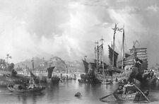 China NINGBO NINGPO YONG RIVER JUNK SAILBOAT SHIP ~ Old 1842 Art Print Engraving