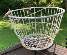 Primitive White Farmhouse Egg Gathering Basket Metal Wire Large 1