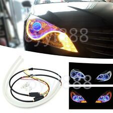 2x60cm Flexible Soft Tube Guide Car LED Strip White DRL&Yellow Turn Signal Light