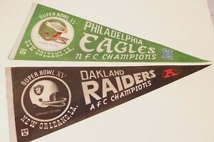 Pair Oakland Raiders Philadelphia Eagles Super Bowl XV Pennant 1981 Champions
