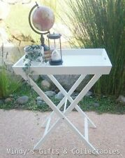 White Wooden Butlers Tray Table with Folding Stand Side Table Bedside
