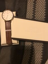 Daniel Wellington Watch Mens Brown Leather white  face, Worn Occasionally.