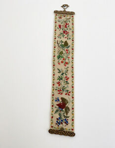 Vintage Wall Hanging Tapestry Handmade Berry Floral Long Vertical Brass Ends