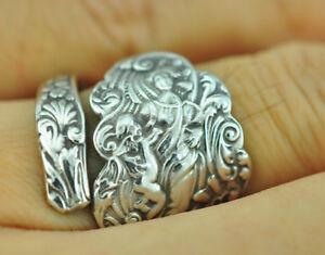 Beautiful 925 Sterling Silver Venus Cupid Angel Spoon Ring