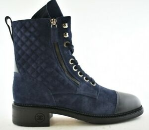 Chanel Navy Blue Suede Black Quilted Combat Lace Up Tie Military Short Boot 41