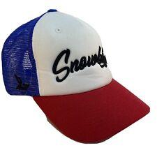 Snowbird Men's Adjustable Snapback Trucker Hat Blue Red White W/Black Lettering