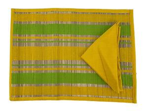 Summer Living 8 Piece Set 4 each Placemats Napkins Bamboo Yellow Cotton