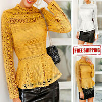 Women Elegant Lace Solid Tops Hollow Out Long Sleeve Casual T Shirt Sheer Blouse