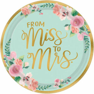 Bridal Shower Table Decorations Disposable Paper Plates x 8 From Miss To Mrs