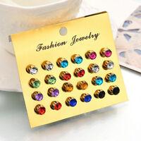 12Pair Fashion Women Colorful Rhinestone Crystal Ear Stud Earring Jewelry Gift