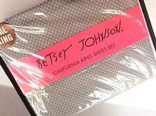 NEW Betsey Johnson CAL KING Sheet Set  ~ Gray with White Polka Dots ~