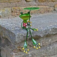 More details for fabulous green metal garden frog leaf shelf sitting sculpture ornament frogs