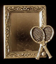 Tennis Photo Pin Brooch Tennis Racket Silver Plate & Ox