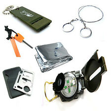Survival Kit Whistle+Wire Saw+Sleeping Blanket+Knife Card+Flint Stone+Compass