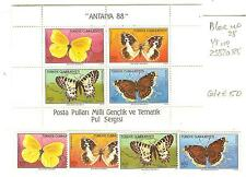 TIMBRES PAPILLONS TURQUIE YVERT BLOC 40 + N° 2582 A 85 COTE € 50