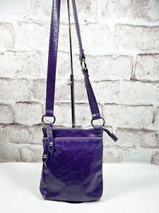 "HOBO INTERNATIONAL ""The Original"" Sarah Distressed Purple Leather Crossbody Bag"