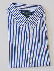 New Polo Ralph Lauren Men's Classic Fit Long-Sleeve Striped Poplin Cotton Shirt
