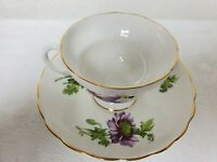 Fine Bone China Cup And Saucer Made In England Beautiful Purple Floral Design