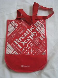 Lululemon Plastic Tote Reusable Small Red White Shopping Lunch Breathe Deeply