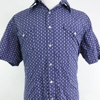 ROPER SHORT SLEEVE BLUE PEARL SNAP BUTTON DOWN WESTERN SHIRT MENS SIZE XL