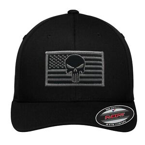 NEW Grey Punisher Flag Patch # 5001 Flexfit Black Hat - Free Shipping!!