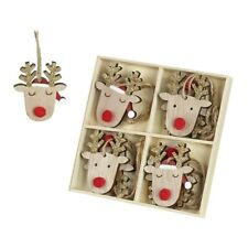 Set di 8 in Legno Renna Decorazioni Albero Natale Ornamenti Rustico Quirky Fun
