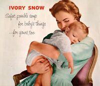 IVORY SNOW Laundry Soap Diapers Lingerie 1954 Original Vintage Magazine Print Ad