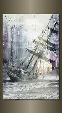 "LARGE SEASCAPE SHIP STORM BLUE GREY CANVAS WALL PICTURE FLASH ART 30"" 20"" 0043"