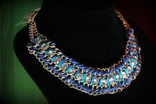 Punch Blue Clear Crystal Chunky Pendant Gold Link Chain Necklace NWT