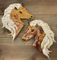 Vintage MCM Ceramic Horse Head Pair Decor Hand Painted Wall Shelf Art 60's-70's