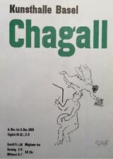 Marc Chagall,Kunsthalle Basel,Poster,Offset Lithograph,Vintage 1966.Plate-signed