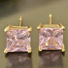 Yellow Gold Plated Girls Kids Childrens Pink Square Stud Earrings