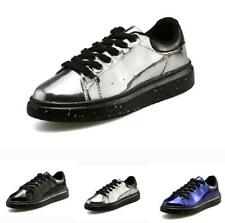Chic Men's Casual Pumps Shoes Patent Leather British Lace up Shiny Flats Leisure