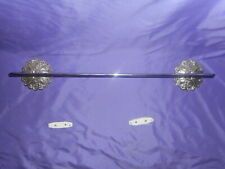 "VINTAGE CHROME 24"" TOWEL BAR W/ MEDALLION BATHROOM KITCHEN METAL MID CENTURY MOD"