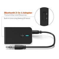 Bluetooth 5.0 Transmitter and Receiver 2 in 1 Wireless 3.5mm Audio Adapter,Black