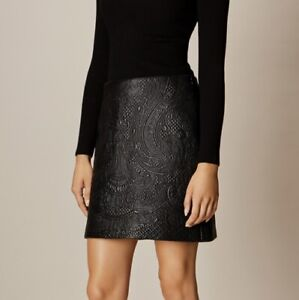 Karen Millen Black Quilted Faux Leather Embroidered Black Mini Skirt 10 38