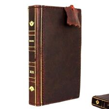 genuine vintage leather Case for apple iphone 8 book wallet bible cover brown uk