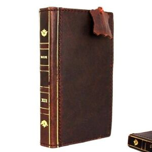 Genuine Vintage Leather Case for Apple iPhone 8 Book Wallet Bible Design Cover