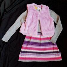 Gymboree Prima Ballerina long sleeve Sweater Dress Girls sz 10 & Furry vest