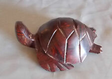 "Carved Wood Turtle Figurine Teak Teakwood 6"" Dark Brown"