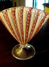 Mid Century Modern Murano Art Glass Pink Latticino Filigrana Aventurine Fan Vase