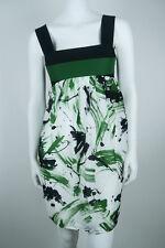 MINT$475 *ROBERT RODRIGUEZ* Green SILK Watercolor EMPIRE WAIST Mini DRESS 4 S