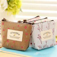 Beautiful Flower Floral Makeup Key Case Handbag Wallet Coin Bag Zip Purse