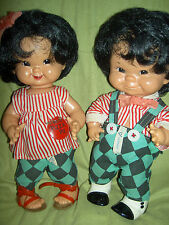 "TWO 1957 ""Stups & Trine"" jointed vinyl ""Good Luck"" dolls by Charlot Byj, Goebel"