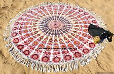 Indian Mandala Hippie Bohemian Throw Yoga Mat Decor Round Tassel Lace Tapestry
