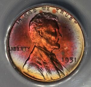 1951  .01  ANACS  MS 65 RB  Lincoln Head Cent, Lincoln One Cent