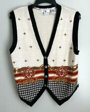 Chandler Hill Medium Ivory Embroidered Sleeveless Button Sweater Vest
